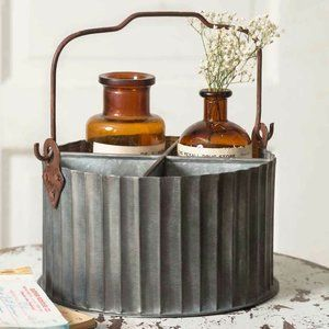 Corrugated Galvanized Divided Caddy with Handle